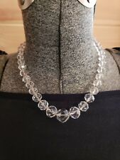 Large Crystal Faceted Beads Necklace Vintage Z Sterling Silver And