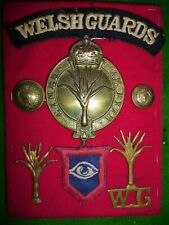 Nice Welsh Guards Armoured KC Pouch Brass & WW2 Badge Collection mounted
