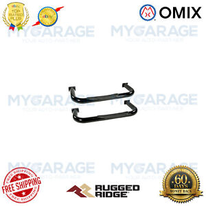Omix For 1976-1983 Jeep CJ5 Tube Side Step Kit, Round, 3 Inch, Black - 11590.01