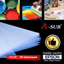 100 ASUB 13x19 Waterproof Silk Transparency Inkjet Film Screen Printing Positive