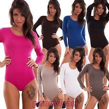 Body donna elasticizzato sottogiacca maniche lunghe girocollo sexy nuovo YT7710B