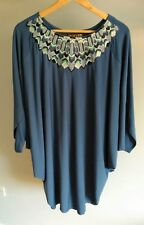 BIBA Women's Ladies Top/Mini Dress/Tunic Batwing Size 10, Blue, Stunning!