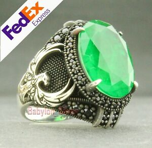 Eagle 925 Sterling Silver Handmade Emerald Men's Luxury Ring All Sizes