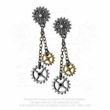 Alchemy Gothic  Pewter Machine Head Steampunk Gear Cog Drop Earrings E371
