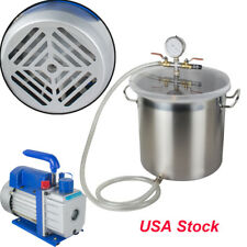 USA Sell 5 Gal Vacuump Chamber Silicone Degassing Kit w/ 3CFM, 1/3HP Vacuum Pump