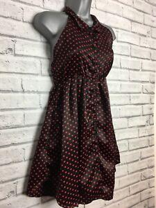 Fairground Black & Red Polka Dot Halter Neck short Dress Size Small Alternative