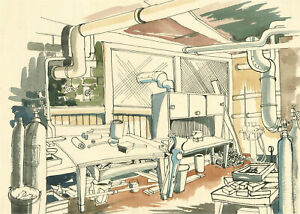Ray J. Weston - 20th Century Pen and Ink Drawing, Metalwork Shop