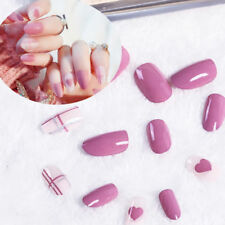 24X pink nail tip artificial false acrylic design fake french full nails art IJ
