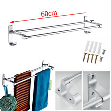 Double Shelf Wall Mounted Bathroom Towel Rail Rack Holder Hook Aluminum alloy US