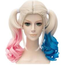 Batman Suicide Squad Harley Quinn Wig Pink Blue Gradient Hair Cosplay Party Wigs