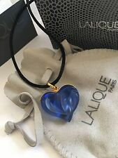 Authentic LALIQUE Blue Entwined Heart Crystal Pendant Necklace w/Pouch & Box