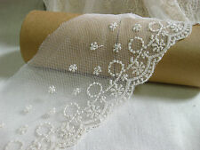 L101 vintage bohemian bridal cream sakura flower scallop lace trim 9 cm x 1yard