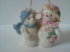 Cherished Teddies Snowbear Ornament Frosty & Aurora Retired 2000 Parade of Gifts