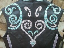 Showtime Design women's / ladies leather horse show vest  - BLING!