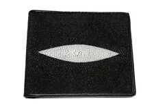 MEN Minimal Slim Card Holder Pocket Wallet Genuine Stingray Leather Skin Bi-Fold