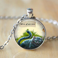 Alice In Wonderland Cheshire Cat We're All Mad Herechain Pendant Necklace