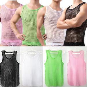 Mens String Mesh Vest Fish Net Fitted String Summer Holiday Beach Vest T-shirt