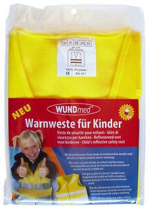 Wundmed Kinder Warnweste Sicherheitswarnweste Gelb Gr. S / EN 1150