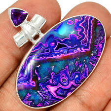 Mexican Laguna Lace & Amethyst 925 Sterling Silver Pendant Jewelry AP192222
