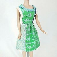 Vintage Barbie Clone / Handmade Dress Blue Green Calico in Good Cond