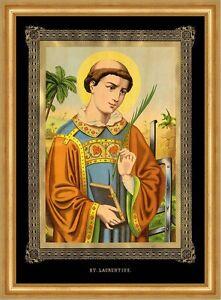 Heiliger Laurentius Schutzpatron Bibliothekare Köche hlg. Sankt A3 0132 Gerahmt