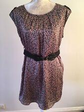 PAPAYA Grey + Pink Cheetah Print Sleeveless Shift Dress w Belt - Size L / 12