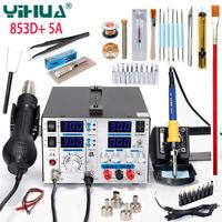 YIHUA 853D+ 5A SMD Soldering Station Hot Air Gun 3IN1 BGA Rework Station Desolde