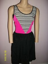 ATTENTION  BLACK DRESS WITH HOT PINK ACCENTS- SIZE 4-SLEEVELESS-A-LINE-NWT