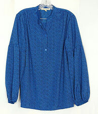 DORA BY DORA LANDA long sleeve Tunic blue and black blouse size Medium