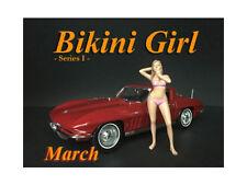 MARCH BIKINI CALENDAR GIRL FIGURE FOR 1/18 SCALE MODELS AMERICAN DIORAMA 38167