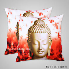 INDIAN CUSHION COVER PRINTED CASE BUDDHA MEDITATION MULTI COLOUR DECOR ART hft