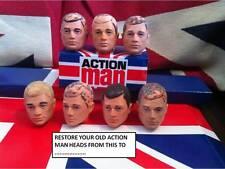 Vintage Action Man ~ cabeza re-acudiendo ~ viejo cabezas re-flocado