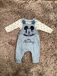 MICKEY MOUSE BABY BOYS 0-3 MONTHS DUNGAREES, SET OUTFIT BUNDLE COMBINE POST