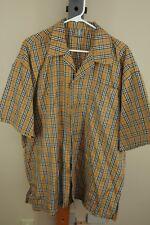 Vintage Men's Brown Black Red & White Plaid Poly Cotton Blend Shirt XXL 2XL