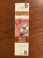 1984 Chicago Bears vs Dallas Cowboys Ticket Soldier Field Walter Payton