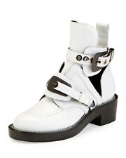 NEW $1390 Auth Balenciaga Ceinture Buckle Cut Out Ankle Boots Bootie White 36