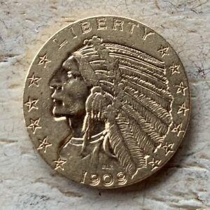 1909 D US $5.00 INDIAN HALF EAGLE GOLD COIN VF/XF DETAILS NO RESERVE!
