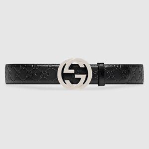 GUCCI GG SIGNATURE Logo FU49X BLACK Leather Silver Buckle Belt 90/36