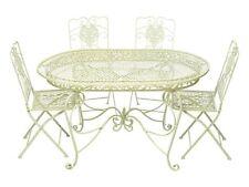 Set tavolo da giardino 4 sedie in ferro bianco crema mobili da giardino in stile
