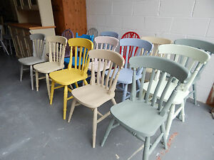 Brand New Solid Wood Farmhouse Kitchen Dining Chairs Mix Colour