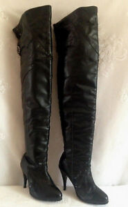 Ellie Black Faux Leather Boots Thigh High OTK Stilletto Heel Womens 9.5?