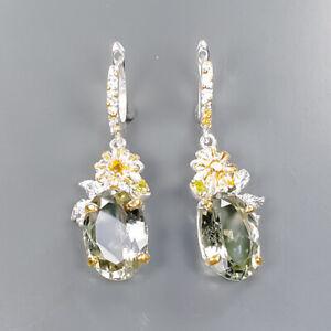 19x13mm Handmade SET Green Amethyst Earrings Silver 925 Sterling   /E57417