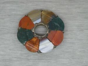 Antique Sterling Silver Scottish Agate Pebble Brooch Pin c1880 (Been repaired)