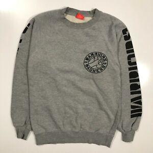 Warriors of Radness Gray Pullover Crewneck Sweatshirt Raglan Sleeves Mens Small