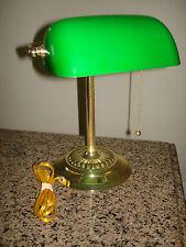 Nice Vintage Green Adjustable Glass Shade Brass Banker's Desk Piano Lamp Light
