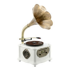 Vinyl Turntable Gramophone Phonograph CD Record Player Speaker FM AUX Bluetooth