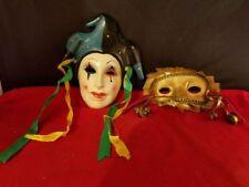 "Set of Two Wall Mask Decor Ceramic 5.5x5.25"" 4.5x3"""