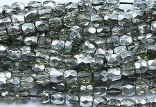 50 Black Diamond/Silver Czech Firepolish Faceted Round Glass Beads 3mm
