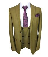 Designer Men Tailored Fit Camel Brown Windowpane Check Suit Double Breasted Vest