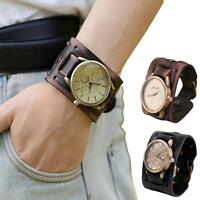 New Retro Mens Watch Big Wide Leather Band Analog Quartz Casual Wrist Watch